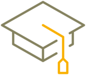 Simplified graphic representation of a graduate hat