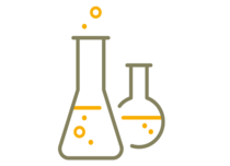 Symbol shows a simplified graphical representation of two test tubes consisting of brown and yellow lines.