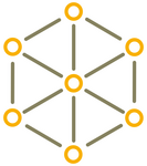 Six yellow circles arranged in a circle and a seventh circle in the middle are connected by lines and form a network.