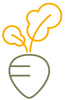 The symbol shows the simplified graphic representation of a beet.