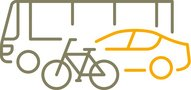 Simple graphical representation of bus, car and bicycle