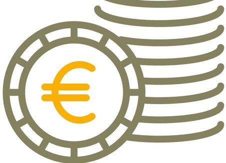 Simplified graphical representation of a coin stack. A coin stands upright in front of it, with a euro symbol on it.