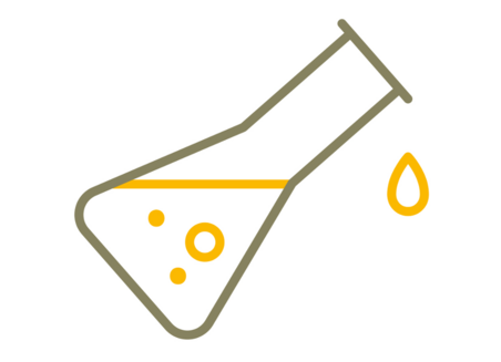 Simplified graphical representation of a tilted Erlenmeyer flask filled with liquid. A drop falls outside the vessel.