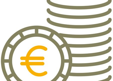 Simple graphical representation of a stack of coins. In front of it, a coin with the Euro symbol stands upright.
