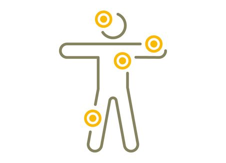Simplified graphical representation of a person with marked points on head, arm, armpit and knee