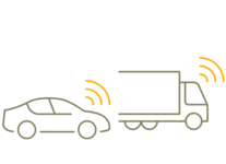 Simplified graphical representation of a car on the left side and a truck on the right side of the picture.
