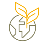 Symbol shows a simplified globe of brown lines and a double-leaved plant of yellow lines